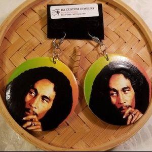 Bob Marley wood disk earrings